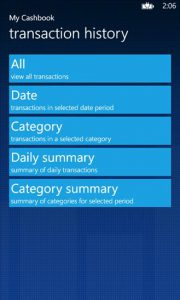 Windows Phone Expense App