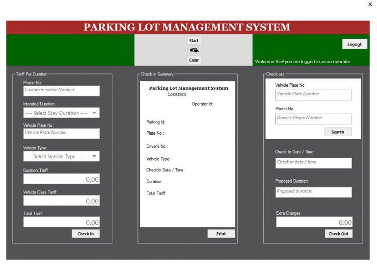Web Based Parking Lot Management System